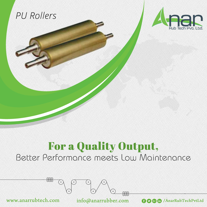 Anar Rub Tech manufactures High Quality PU Rollers that gives quality outcomes with the low maintenance and at consistent performance. #PURollers #PURollersManufacturers #PURollersSuppliers #PURollersExporters