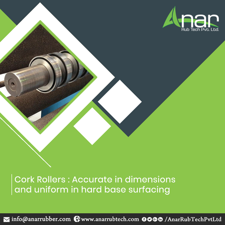 Cork Rollers by Anar Rub Tech Pvt. Ltd. are manufactured with high precision qualities with accuracy and uniformity in surfacing over rubber surface  #CorkRollers #AnarRubTechPvtLtd