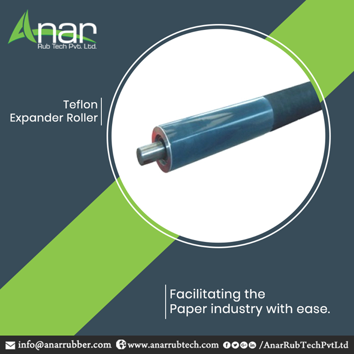 Being the foremost manufacturer and supplier in paper industry, Anar Rub Tech manufactures Teflon Expander Roller which brings simple mechanism for rolling every type of paper without any hassle.  #TeflonExpanderRoller #TeflonExpanderRollerManufacturers #TeflonExpanderRollerSuppliers #TeflonExpanderRollerExporters