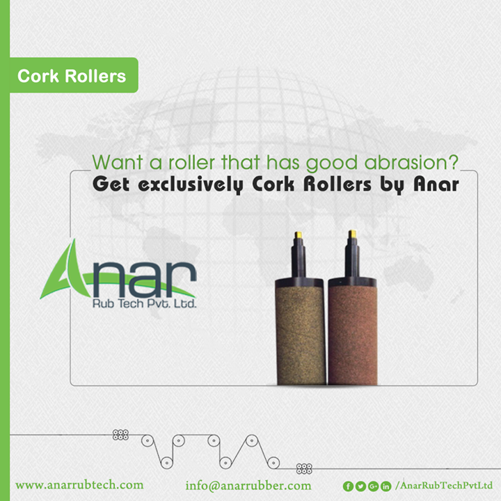 Cork Rollers from Anar Rub Tech are the prominent products featuring good abrasion and aging resistant properties which makes every manufacturing operations easy and quick. #CorkRollers #CorkRollersManufacturers #CorkRollersSuppliers #CorkRollersExporters