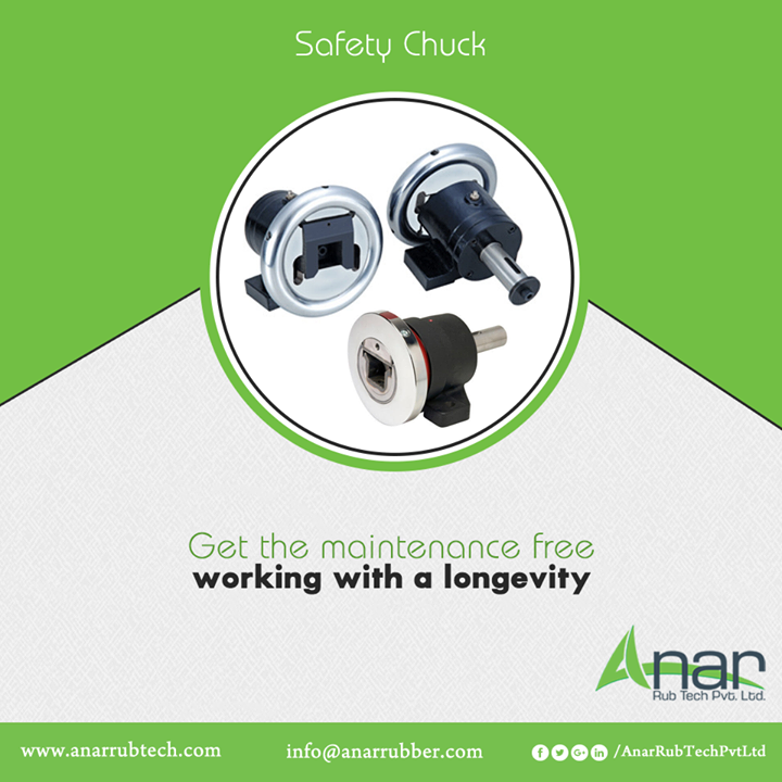 Safety Chuck by Anar Rub Tech is the square bar holder facilitating the conveyance of heavy machines for positioning in the correct manner.  #AnarRubTechPvtLtd