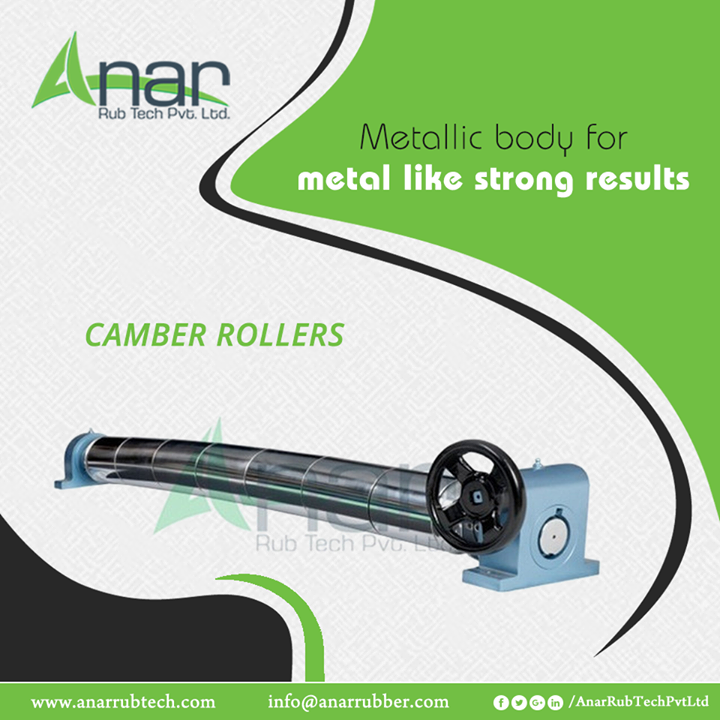 Camber Rollers by Anar Rub Tech are made with pure metal body which assures the best functioning in manufacturing operations and gives a metal like strong output. #CamberRollers #CamberRollersManufacturers #CamberRollersSuppliers #CamberRollersExporters