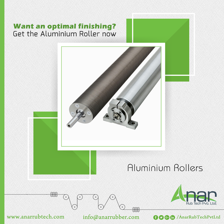 Aluminium Rollers by Anar Rub Tech give an optimal finishing for manufacturing operations that gives perfect design and lustrous finishing. #AluminiumRollers #AluminiumRollersManufacturers #AluminiumRollersSuppliers #AluminiumRollersExporters