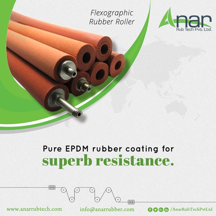 Flexographic Rubber Roller by Anar Rub Tech has the superior EPDM rubber coating which gives the best resistance over adversities and gives a consistent performance.  #AnarRubTechPvtLtd