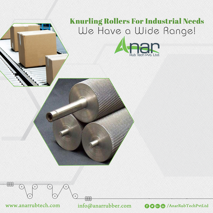 Knurling Rollers by Anar Rub Tech Pvt. Ltd areavailable in different type, sizes and capacity for wrapping and packaging needs.We have knurling rollers with wooden slat and aluminium slat expander. Thelength is up to 3000 mm with varied diameters. You can be assured about the durability,reliability, corrosion resistance, moisture resistance properties of theseproducts. #KnurlingRollers #KnurlingRollersManufacturers #KnurlingRollersSuppliers #KnurlingRollersExporters