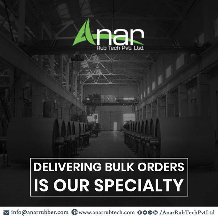 Need to order a large quantity of rubber products at one go? Based in Ahmedabad, we have established ourselves over the years with trust and brand loyalty from our customers.  We are extremely capable of taking and delivering bulk orders. We make sure that you not only receive products that are worth your money, but also ensure timely delivery. #AnarRubTechPvtLtd