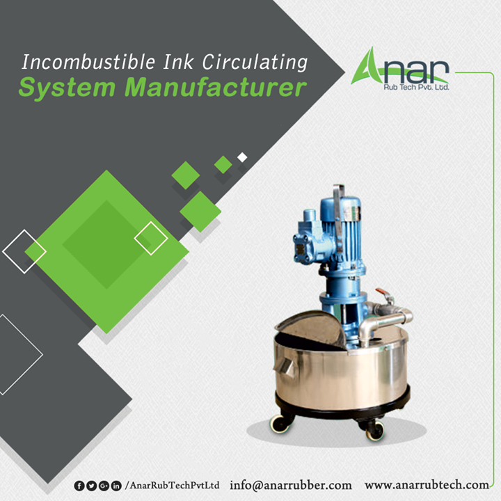 Certainly one of our Top 5 Products, our Ink Circulating System Manufacturer is flame-proof which makes it a huge hit amongst our clients. The body of the product is made of stainless steel which gives it strength and durability and is also corrosion resistant. We definitely produce the best ink circulating system manufacturer which is also easy on your budget. To know more, find us at http://www.anarrubber.com/ink-circulating-system.html#main. #InkCirculatingSystem #InkCirculatingSystemManufacturers #InkCirculatingSystemSuppliers #InkCirculatingSystemExporters