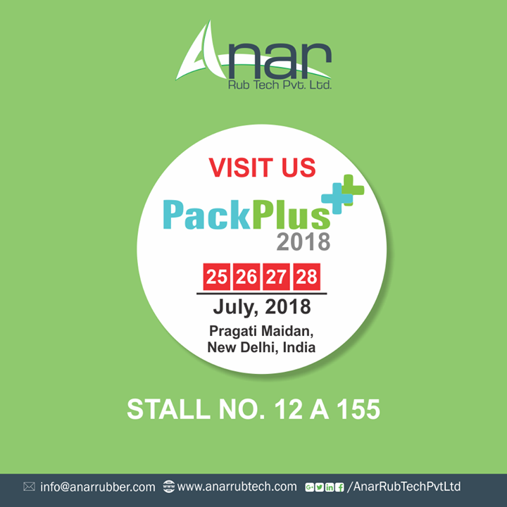 PackPlus, here we come ! Anar Rub Tech feels proud to invite you all at upcoming PackPlus 2018 at Pragati Maidan, Delhi. Do visit us  and see the next generation mechanism of wide variety of rollers.   Date: 25th to 28th July, 2018  Stall no.: 12 A 155