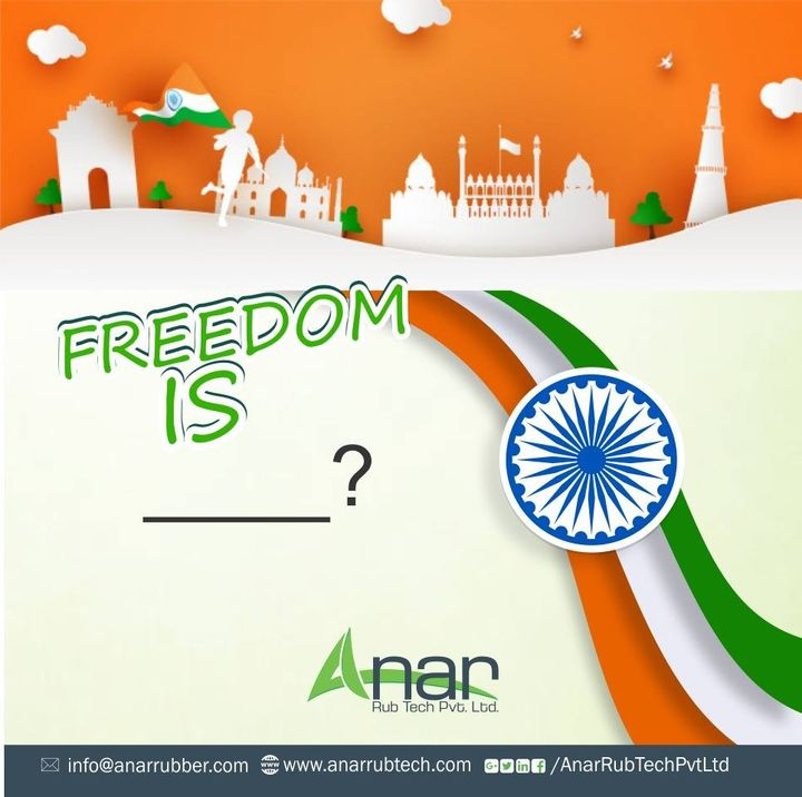 What are your thoughts about freedom? Share it with us and help us in filling up the blank space. #independenceday #happyindependenceday #RubberRollerManufacturer  #RubberRollerExporters  #RubberRollerSuppliers