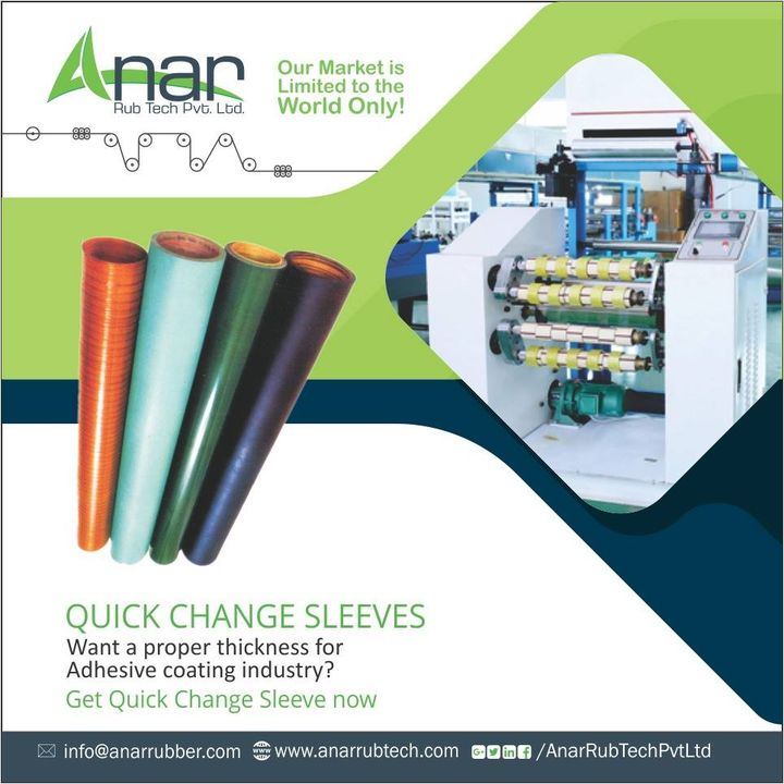 #AnarRubTech manufactures sleeves which are used in printing and laminating with superior quality. It saves time and gives a thick base of 300 mm diameter.  #QuickChangeSleeves