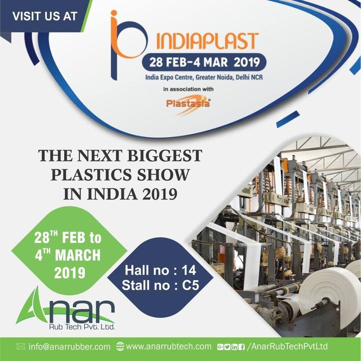 INDIAPLAST 2019 Anar Rub Tech Pvt ltd.  is thrilled to invite Do visit us and see the mechanism of wide variety of rollers.  An exhibition that will bring you a fair knowledge about current rubber industries. #IndiaPlast2019 #Anarrubtechpvtld #PlastIndia