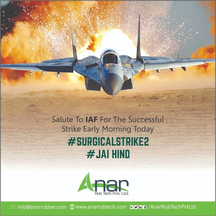Salute to #IAF for showing great courage in the face of adversity. A fitting reply to cowardice! #JaiHind  #AnarRubTech #RubberRollerManufacturer #RubberRollerExporters #RubberRollerSuppliers