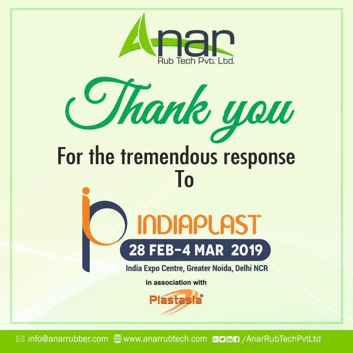 Thank you for visiting us at Indiaplast 2019 . #AnarRubTech #Plastindia2019