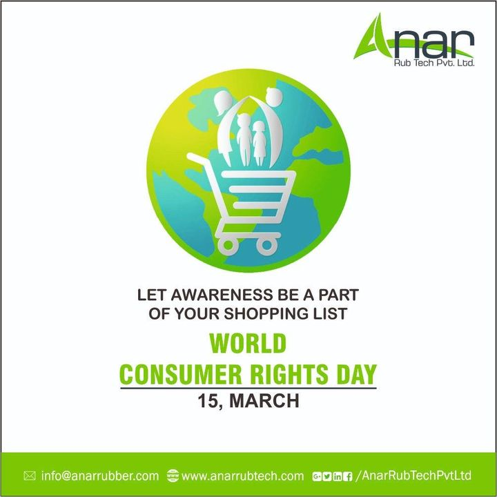 On this Consumer day,  let's celebrate and make sure every individual as a consumer is aware about the rights they have and  their demands are always protected and respected. Protest against any malpractice will be a lessson for the rest.  Stay aware,  spread awareness!! #AnarRubTech #RubberRollerManufacturer #RubberRollerExporters #RubberRollerSuppliers