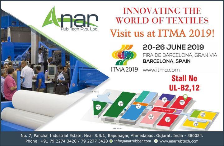 Time to visit us again!  You are cordially invited to check our wide range of Rubber Roller in ITMA 2019 at stall no UL B2-12. See you soon! #AnarRubTech #RubberRollerManufacturer #RubberRollerExporters #RubberRollerSuppliers