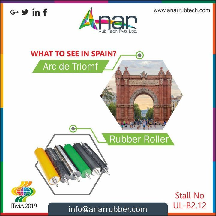 Amazing Spain has lot to see, but here at #ITMA2019 Anar is ecstatic to have you all at stall no UL-B2, 12 and raise your buzz meter with various products like #RubberRoller.  See you soon guys!! #AnarRubTech #RubberRollerManufacturer #RubberRollerExporters #RubberRollerSuppliers