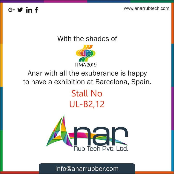 Dipped in the colours of ITMA,  Anar is delighted to have an exhibition at Barcelona, Spain. #AnarRubTech #RubberRollerManufacturer #RubberRollerExporters #RubberRollerSuppliers