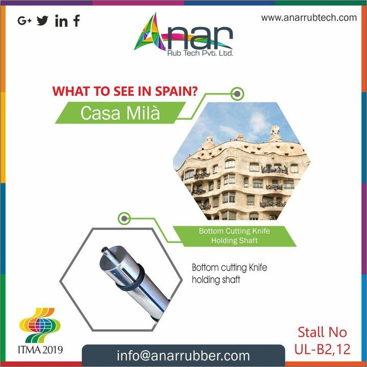 As you get the real feel of the city,  Spain also has Exhibition where you can see stunning bottom cutting knife holding shaft. #ITMA2019 #AnarRubTech #RubberRollerManufacturer #RubberRollerExporters #RubberRollerSuppliers