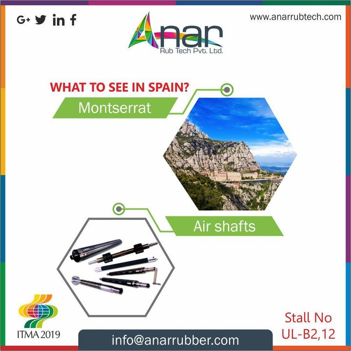 This fabulous range of products with Anar also has Air Shafts which you can see here at #ITMA2019 along with beautiful Spain. #AnarRubTech #RubberRollerManufacturer #RubberRollerExporters #RubberRollerSuppliers