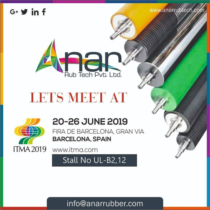 Grab a chance to meet us at #ITMA2019 and get to know how we can work together for the betterment of our businesses. #AnarRubTech #RubberRollerManufacturer #RubberRollerExporters #RubberRollerSuppliers