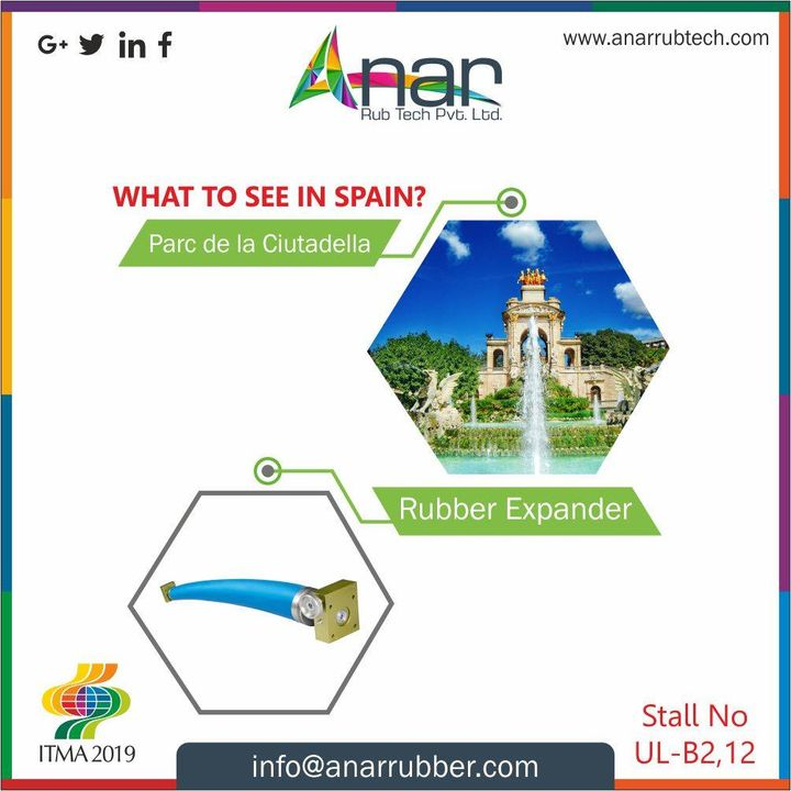 This incredible Spain has lot to see, but here at #ITMA2019 Anar is eager to have you all at stall no UL-B2, 12 with various products like Rubber Expander.. See you soon guys!! #AnarRubTech #RubberRollerManufacturer #RubberRollerExporters #RubberRollerSuppliers