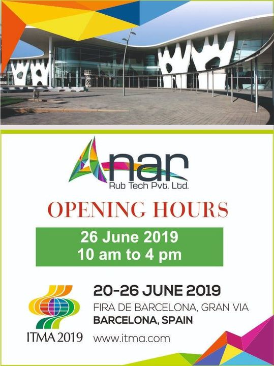 It's time to see us at #ITMA2019. We are glued there 26th June between 10 am to 4 pm. Be there!! #AnarRubTech #RubberRollerManufacturer #RubberRollerExporters #RubberRollerSuppliers