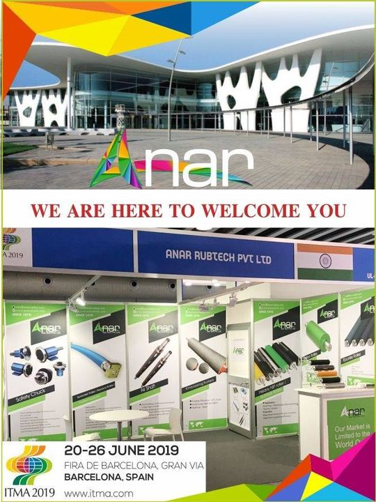 And Finally in Barcelona, Spain,  we are at the venue in ITMA 2019 to serve you at stall no B2 12..Do visit us as we are honoured to welcome you. #AnarRubTech #RubberRollerManufacturer #RubberRollerExporters #RubberRollerSuppliers