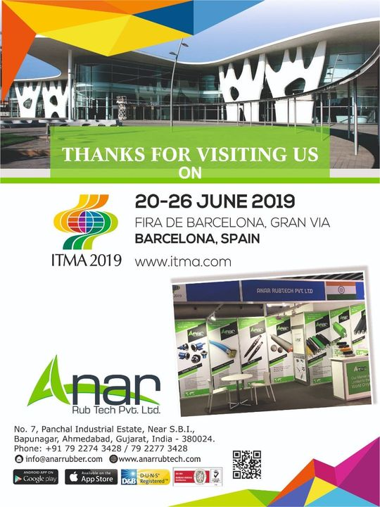 We are honoured and glad to see you in #ITMA exhibition. Your presence made the experience special and worth. Thank you for visiting us. #Anarrubtech #RubberRollerManufacturer #RubberRollerExporters #RubberRollerSuppliers