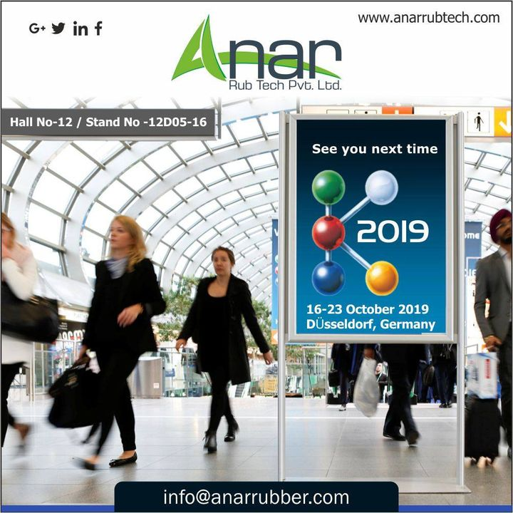 #K2019, the most exciting and innovative exhibition we have been waiting for. See you soon at Hall no 12/stand no - 12D05-16.  #AnarRubTech #RubberRollerManufacturer #RubberRollerExporters #RubberRollerSuppliers #Saftychucks #BowRoller