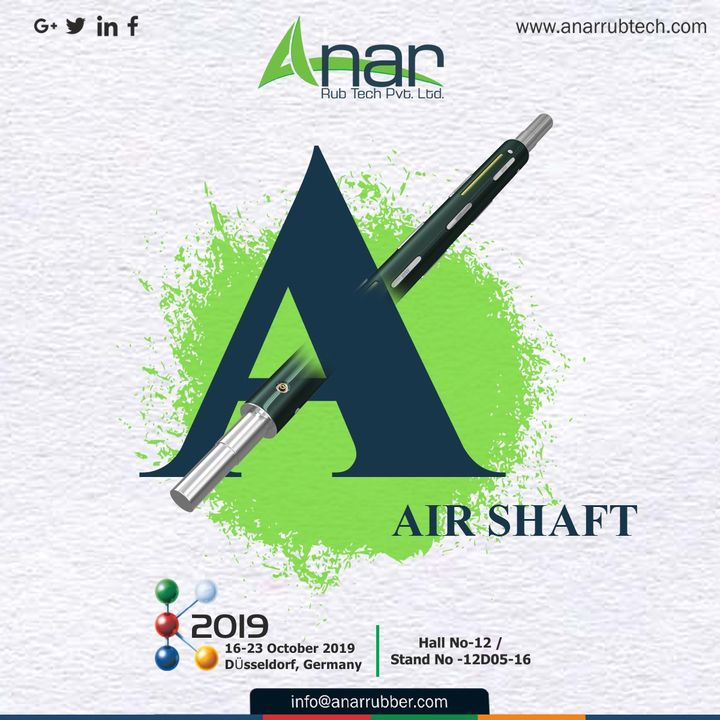 This fabulous range of products with Anar also has Air Shaft which you can see here at #K2019 along with beautiful Germany. #AnarRubTech #germany #RubberRollerManufacturer #exhibitation #RubberRollerExporters #airchuck #airshaft #RubberRollerSuppliers