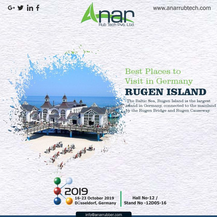 The beautiful Germany has incredible things to see, but do not miss the chance to visit RUGEN ISLAND. #AnarRubTech #germany #Germanyvisitingplace #exhibitation #RubberRollerManufacturer  #airchuck #airshaft #k2019 #RubberRollerExporters #RubberRollerSuppliers