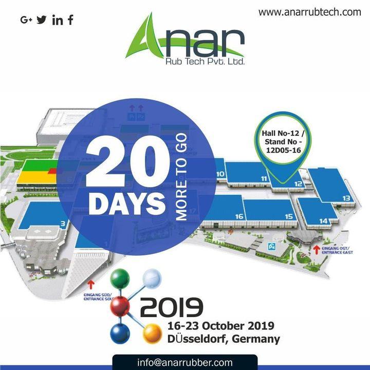 All the zing flowing through us, we can't wait for either for the exhibition as the count down begins...See you soon at Hall No-12/Stand No.12D05-16.  #AnarRubTech #k2019 #germany #RubberRollerManufacturer   #exhibitation #airchuck #RubberRollerExporters #airshaft   #RubberRollerSuppliers