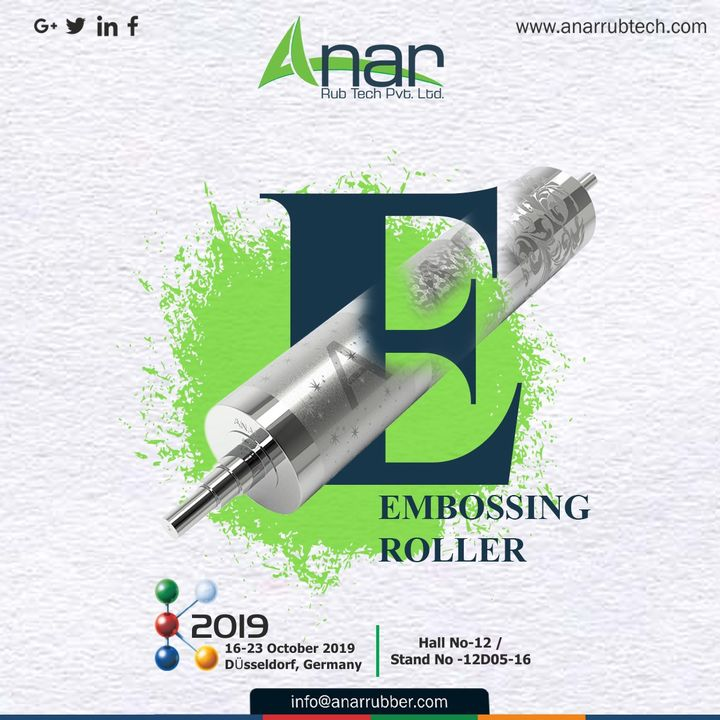 When you don't know what to see in Germany, start with #K2019 and the most definite products EMBOSSING ROLLER by Anar at Hall No 12/ Stand No.12D05-16. #Anarrubtech #germany #Rubberrollermanufacturer #exhibition #Rubberrollerexporters #airchuck #airshaft #Rubberrollersuppliers #germanyexhibition