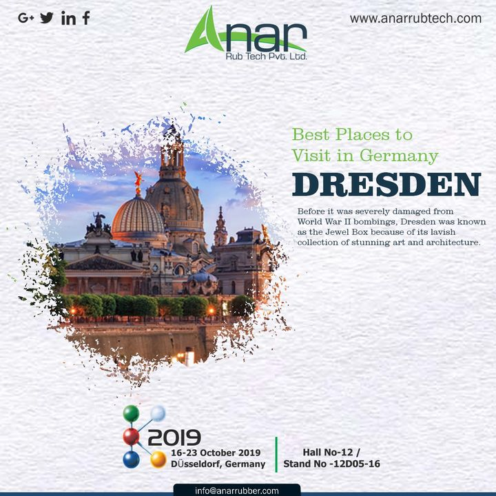 The beautiful Germany has unimaginable things to see, but do not miss to visit DRESDEN.There you can see the Collection of stunning art and architecture.  #AnarRubTech #k2019 #germany #Germanyvisitingplace  #RubberRollerManufacturer #exhibition #airshaft #RubberRollerExporters #airchuck #inkcirculating #RubberRollerSuppliers