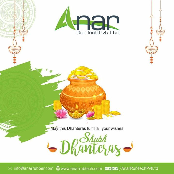 May this Dhanteras shower you with wealth & prosperity as you journey towards greater success.Happy Dhanteras..!! #happydhanteras #diwali #festival #AnarRubTech #RubberRollerManufacturer #RubberRollerExporters #RubberRollerSuppliers