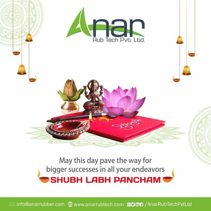On this blissful occasion of Labh Pancham wishes you great health, wealth and success.Happy Labh Pancham..! #Happylabhpancham #AnarRubTech #RubberRollerManufacturer #RubberRollerExporters #RubberRollerSuppliers