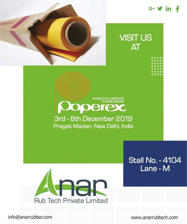 You are cordially invited to check our wide range of Products in PAPEREX at stall no - 4104, Lane-M. See you soon! #AnarRubTech #paperex #paperex2019 #rubberproduct #RubberRollerManufacturer #exhibition #rubberroller #RubberRollerExporters #RubberRollerSuppliers