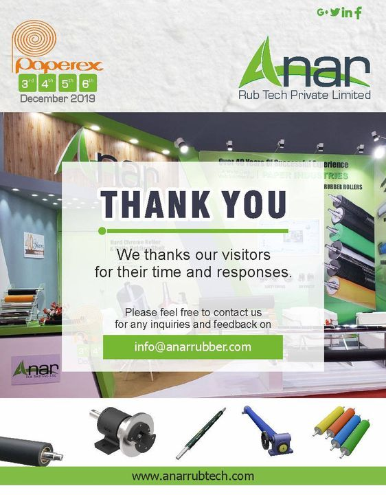 Anar Rub Tech Pvt Ltd Would like to Thank You for attending Paperex 2019. We look forward to seeing you at the next event. #paperpex2019 #anarrubtechpvtltd #rubberproduct #rubberroller