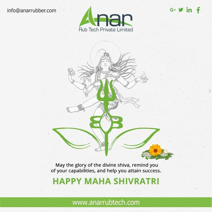On the occasion of Maha Shivratri may the almighty Lord Shiva bless you all good things and perfect health. Happy Maha Shivratri to you! #mahashivratri #AnarRubTech #RubberRollerManufacturer #RubberRollerExporters #RubberRollerSuppliers