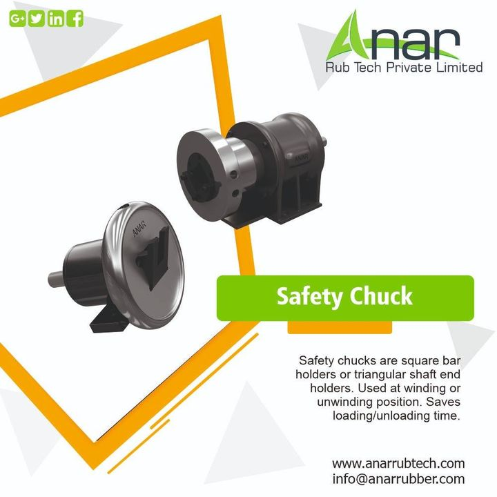 safety chuck features a tilt-able handwheel with a shaft journal seat that securely holds the shaft and roll during operation. #anarrubtechpvtltd #safetychuck #safetychucks #anarrubber #windingchuck
