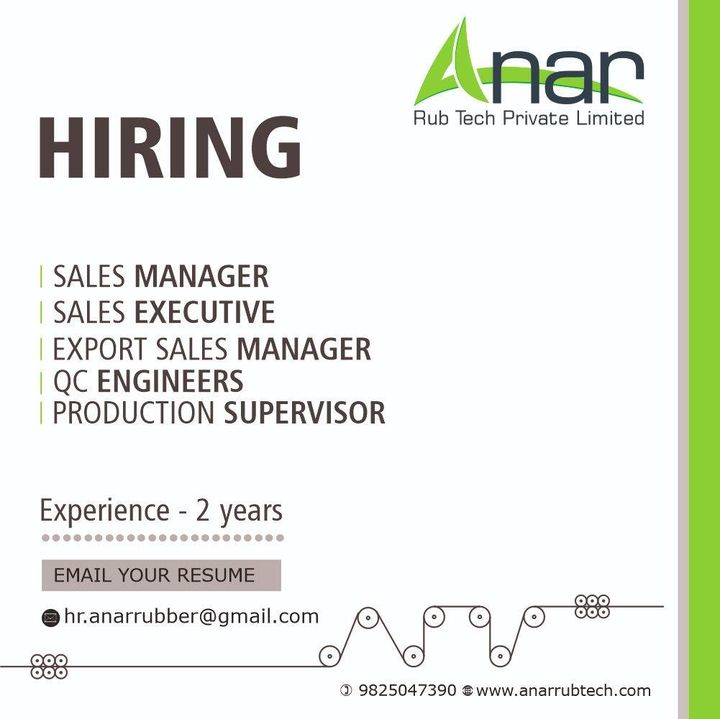 Wish to find a workplace that shares the same passion and professionalism as yours even in such  difficult times?  We are looking to add a few new names to our dynamic team Sales Executive,Export Sales Manager,  Sales Manager, QC Engineers,Production Supervisor.  Think you got it in you? Call on +91 9825047390 to schedule an interview or Drop your resume at hr.anarrubber@gmail.com  #recruitment #career #vacancy #jobs #hiring #salesexecutive #Exportsalesmanager #salesmanager #QCengineers #productionsupervisor