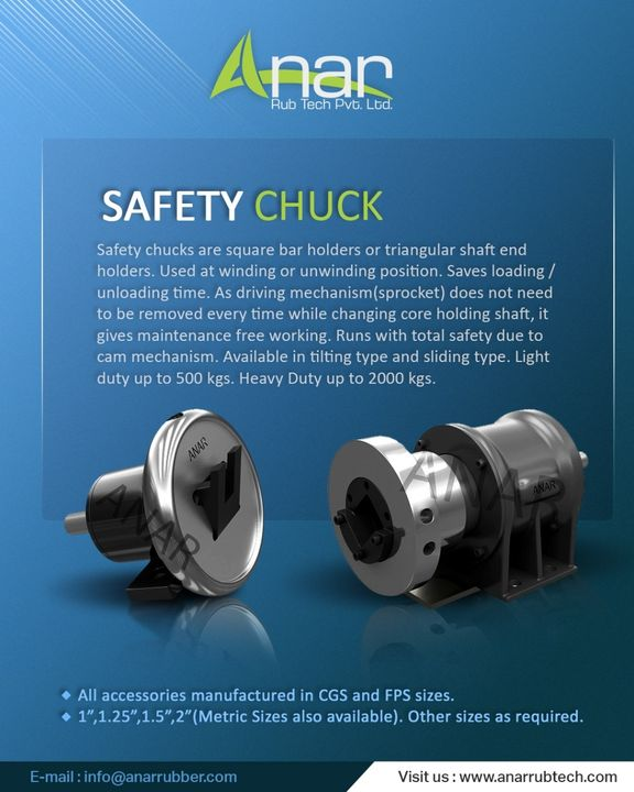Safety Chucks is a quick coupling used in shafted center wind and center unwind applications. #SafetyChucks #coupling  #anarrubtechpvtltd #rubberproduct #applications #anarrubtech