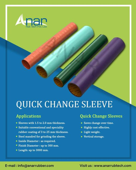 We are manufacturer, supplier and exporter of Quick Change Sleeve for Packaging Industries in Ahmedabad, Gujarat, India, Know more information about Quick Change Sleeve, visit on www.anarrubtech.com #quickchangesleeve #sleeve #rubbersleeve #rubber #sleeve #packaging #packagingindustry #printingindustry #ciflexo #flexomachine #rotogravuremachine #frpbasesleeve