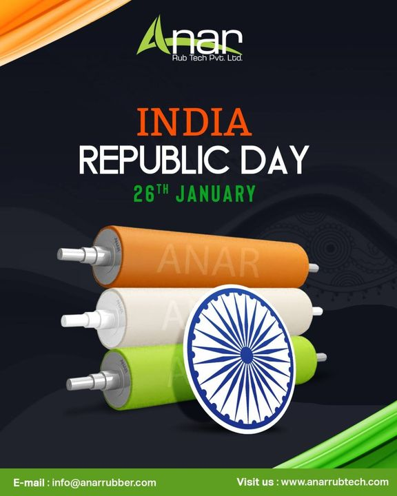 Take pride that you live in a country that has such a diverse glorious history and rich heritage. Happy Republic Day #rubberroller #anarrubtechpvtltd #rubbersleeves #rubberexpander #rubberproducts #HappyRepublicDay