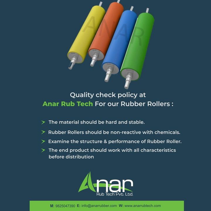 We believe that high quality is what make us different at Anar Rub Tech  To know more about us, visit our website anarrubtech.com or give us a call.   #rubberroller #rubbersleeve #airshaft #safetychuck #bowroller  #bananaroller  #rubberexpander #embossingroller #manufacturingindustry #plasticindustries #paperindustry #textileindustry #polyester #rollers #dyeing #anarrubtechpvtltd #equipments #equipmentsupplier #rubberindustry #rubberproducts #topicalspot #topicalspot #socialsamosa