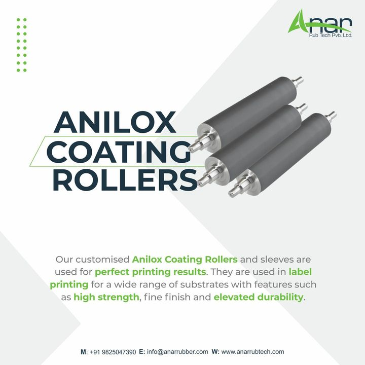 Anilox Roller Manufacturer Our company is engaged in manufacturing and Qualitying a wide range of Anilox Roller to our clients.   These are fabricated with premium grade material .Our products are abrasion resistant and are long lasting in nature as well.  Ceramic Anilox Rollers provided by us are well known for their quality and durability. These Ceramic Anilox Rollers are fabricated by using qualitative raw material. These Ceramic Anilox Rollers are appreciated in the worldwide market.  Features of these products are mentioned below:: -Easy installation -Elevated durability -High strength -Fine finish  To know more about us, visit our website anarrubtech.com or give us a call.   #rubberroller #rubbersleeve #airshaft #safetychuck #bowroller  #bananaroller  #rubberexpander #embossingroller #manufacturingindustry #plasticindustries #paperindustry #textileindustry #polyester #rollers #dyeing #anarrubtechpvtltd #equipments #equipmentsupplier #rubberindustry #aniloxroller #labelprinting #rollers #flexoprintingmachine #printingindustry #lableprintingmachine #gravureprintingmachine #paperprintingmachine #printingroller