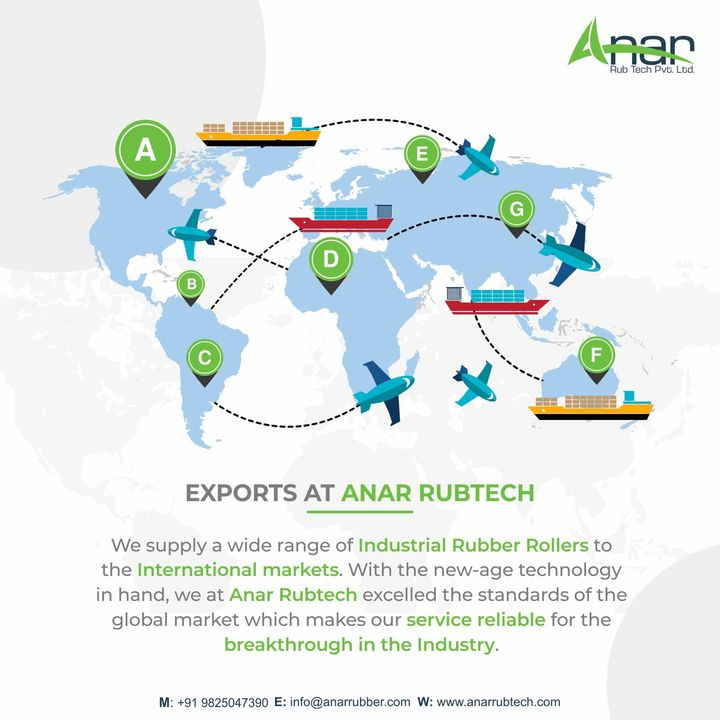 Exports For Every Industrial Rubber Roller needs.   To know more about us, visit our website anarrubtech.com or give us a call.   #rubberroller #rubbersleeve #airshaft #safetychuck #bowroller  #bananaroller  #rubberexpander #embossingroller #manufacturingindustry #plasticindustries #paperindustry #textileindustry #polyester #rollers #dyeing #anarrubtechpvtltd #equipments #equipmentsupplier #rubberindustry #aniloxroller #labelprinting #rollers #import #export #importexport #rubberrollerexports #rubberrollerinuae #rubberrollerinnigeria #rubberrollerinusa #airshaftinuae