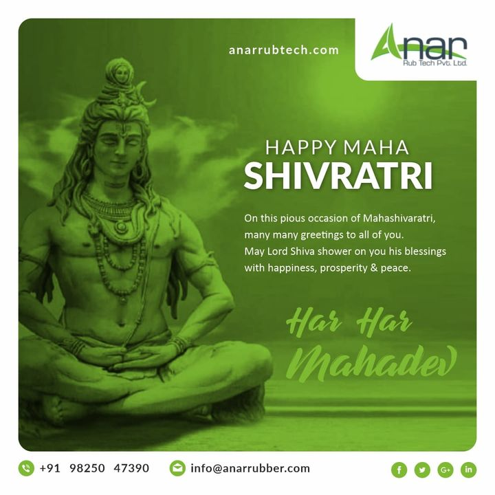 Maha shivratri blessings to you and your family. May the almighty Lord Shiva bless you all with good things and perfect health.Maha Shivratri..!!  #rubberroller #anarrubtechpvtltd #rubbersleeves #rubberexpander #rubberproducts #happymahashivratri  #shivratri