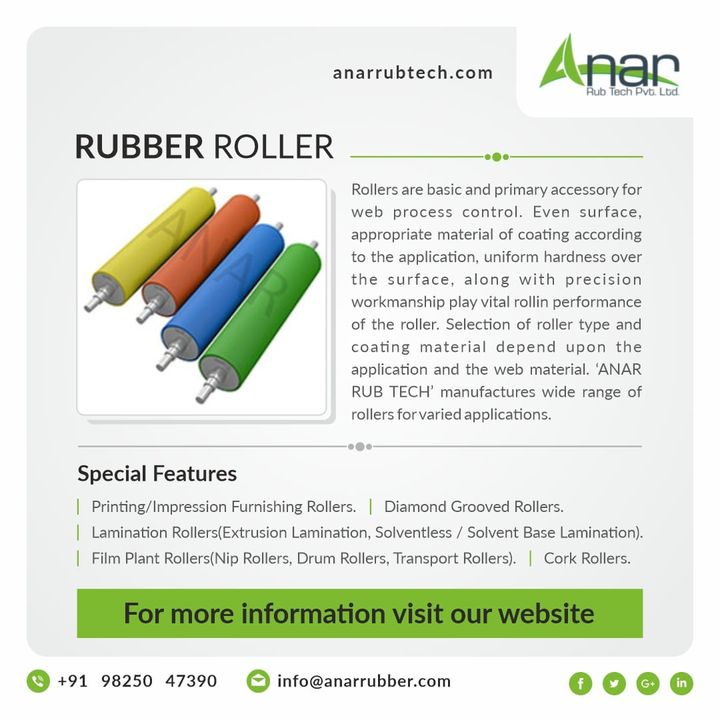 Rollers are widely used components that serve the simple yet surprisingly diverse functions of facilitating and processing material and product movements in manufacturing and/or industrial settings. #rubberroller #anarrubtechpvtltd #anarrubtech #bananaroller #embossingroller #drumroller #winderrubberroller #niproller #laminationroller #printingrubberroller #productionspeed