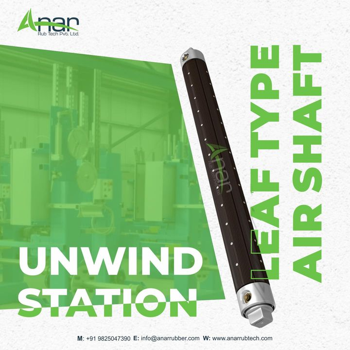 This type of shaft can be used at unwind station and is used for rewind stage, advantages are narrow core width, prevent damage of thin cores and core less winding.   Know more information about a product, contact us at +91-9825047390 or visit our website: anarrubtech.com  #airshaft #printingindustry #paperindustry#packagingindustry #plasticindustry #textileindustry #businessequipments #unwindstation #leaftypeairshaft #corelessshaft #pneaumeticshaft #newairshaft #windingshaft